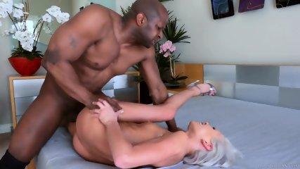 Crazy Blonde Slut Filled With Black Dong