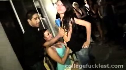 Horny lesbian coeds make out during a wild party - scene 3