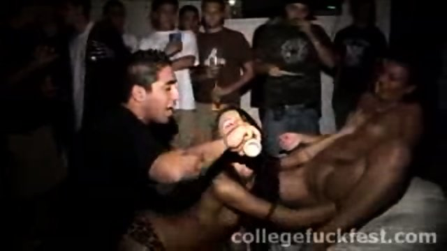 Horny lesbian coeds make out during a wild party
