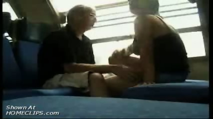 Papy kisses big tits in train - scene 2
