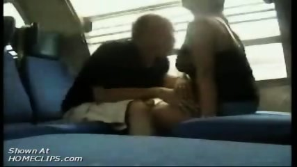 Papy kisses big tits in train