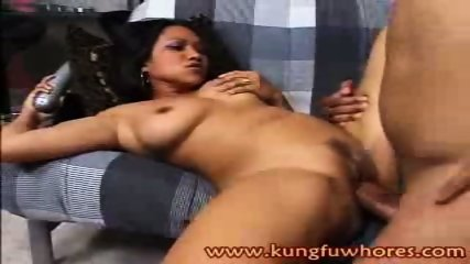 This Asian hottie gets her twat pounded by a fat cock - scene 10