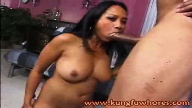 This Asian hottie gets her twat pounded by a fat cock