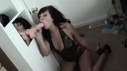 Kinky Slut Sucking A Dildo And Getting A Facial Cumshot - scene 2