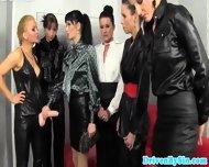European Femdom Blonde Soaking Five Brunettes