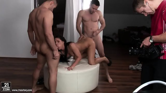 Nice Brunette Fucked By Two Guys