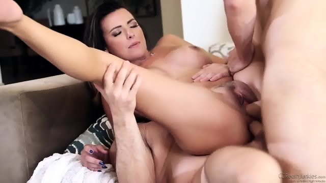 Two Guys Fuck Busty Brunette