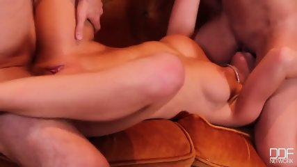 Brunette And Blonde In Action On Sofa - scene 8