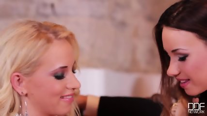 Brunette And Blonde In Action On Sofa - scene 2