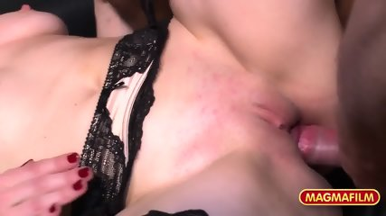 Attractive Lady With Stockings Gets Gang Banged - scene 9