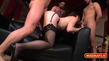 Attractive Lady With Stockings Gets Gang Banged - scene 11