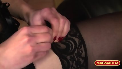 Attractive Lady With Stockings Gets Gang Banged - scene 1