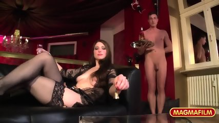 Attractive Lady With Stockings Gets Gang Banged - scene 2