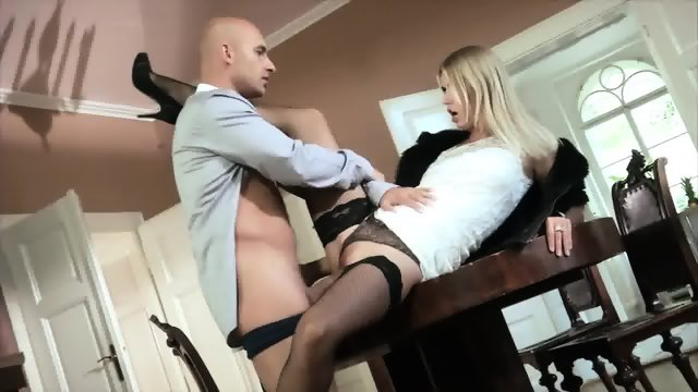 Blonde Slut With Stockings Takes Cock