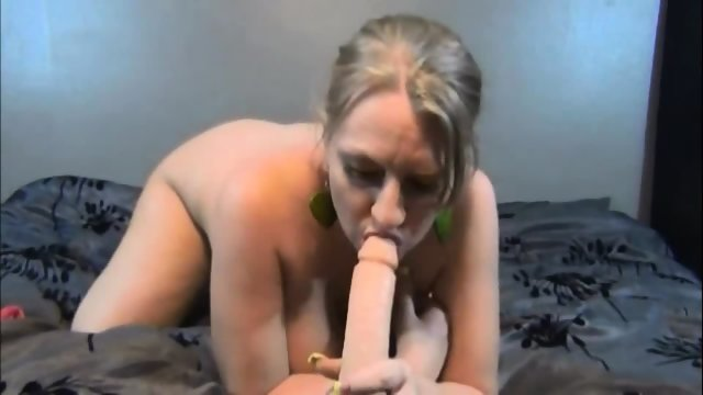 Busty Pregnant Milf Sucks And Fucks A Big Fat Dildo