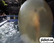 Super Hot Girls Liked Waterball Fighting And Wild Party