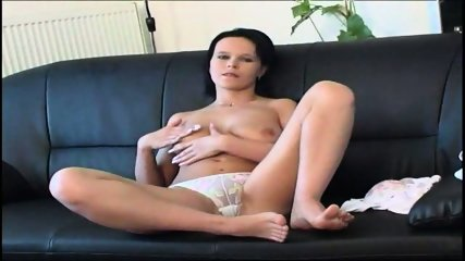 White underwear on black leather couch - scene 3