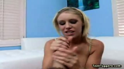 This hot blonde sensually plays with a long hard cock - scene 1