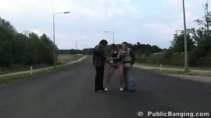 Verona fucked by 2 guys in the middle of a road - scene 2