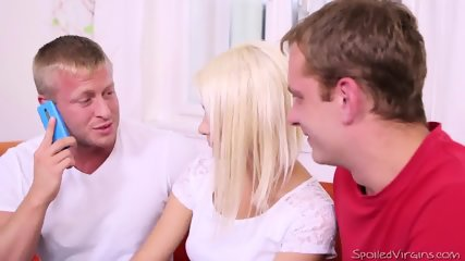 Threesome Sex With Nice Blonde - scene 2