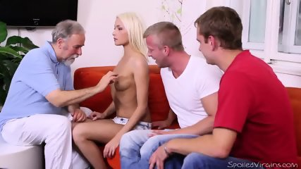 Threesome Sex With Nice Blonde - scene 3