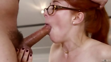 Redhead With Glasses Sucks Hard Dick