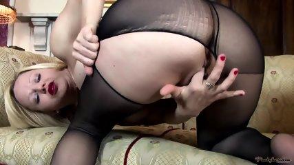 Playful Girl In Black Nylon