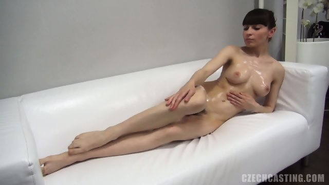 Oiled Chick On Sofa