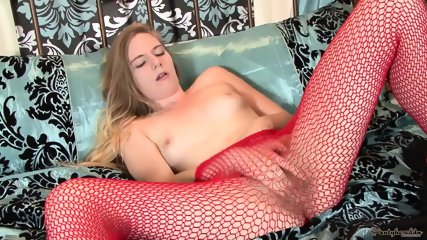 Cutie With Red Fishnet Pantyhose