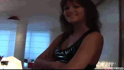 brunette in black fucks pink dildo - scene 1