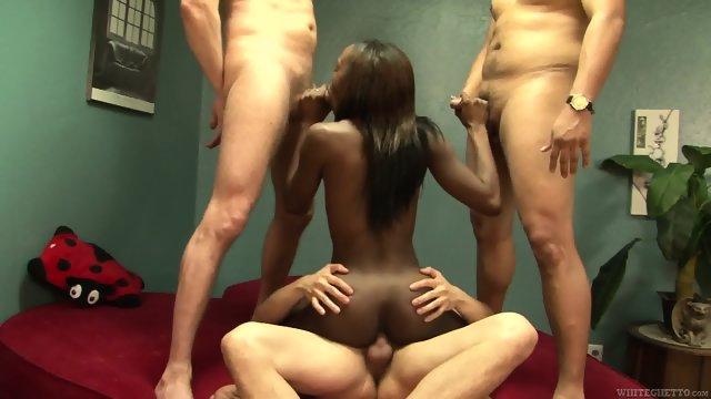 Three Dicks For Ebony Whore