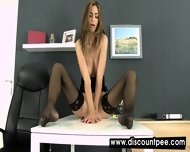 Dirty Secretary Pees All Over Her Desk
