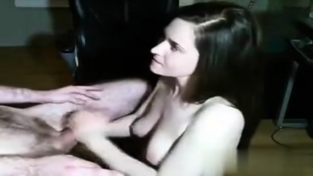 White Cutie Strokes And Sucks Her Boyfriend