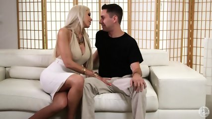 Busty Blonde With Tattoo On Arm Likes Taste Of Cock - scene 2
