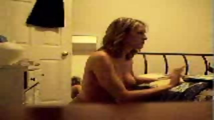 Blonde wife strips for hubby on Cam - scene 1