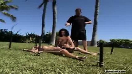 2 bondage sluts toying outside - scene 10