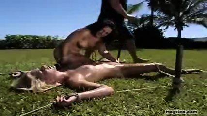 2 bondage sluts toying outside - scene 2