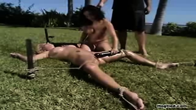 2 bondage sluts toying outside