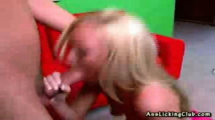 Blonde gets her fix by licking on an ass and blowing a cock - scene 10