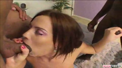 Sarah strokes and blows two black rods - scene 7