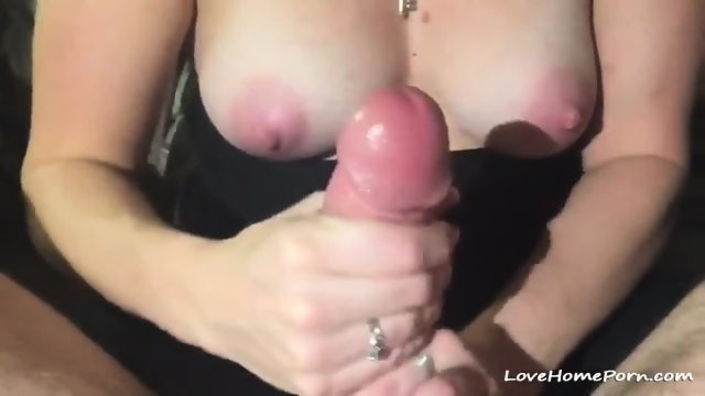 Busty Milf Jerking On A Huge Cock Until It Cums Hard