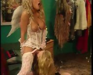 Cupid's sister takes big dildos from a mean skank.