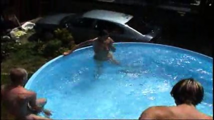 MILF takes on a bunch of guys at a pool (Part 6)
