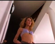 Lady on the stairs showing her panties - scene 5