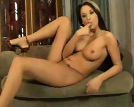 Lovely lass plays on a love seat - scene 6