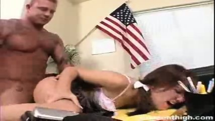 Hot redhead whore Aubrey punished and screwed hard by the principal - scene 9