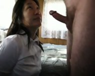 korean wife gives blowjob on knees swallows - scene 6