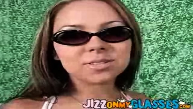 Julia Bond gets Jizz on her Glasses