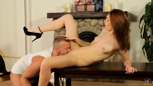 Glam Redhead Banged On Table