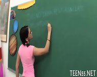 Provoking Teen Gets On Her Knees